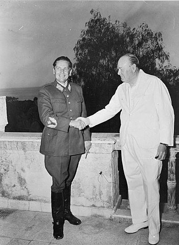 Josip Broz Tito and Winston Churchill in 1944 in Naples, Italy