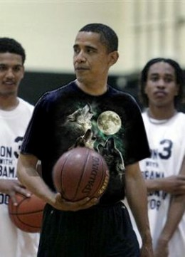 President Barack Obama wears the three wolf moon tshirt.