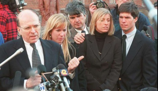 Thomas Puccio attorney for Alex Kelly speaking to the press after the first trial ended in a hung jury in 1996. Beside Puccio is Hope Seeley, Joseph Kelly , Amy Molitar and Alex Kelly. Puccio died Monday, March 12, 2012 of leukemia in New Haven, Conn