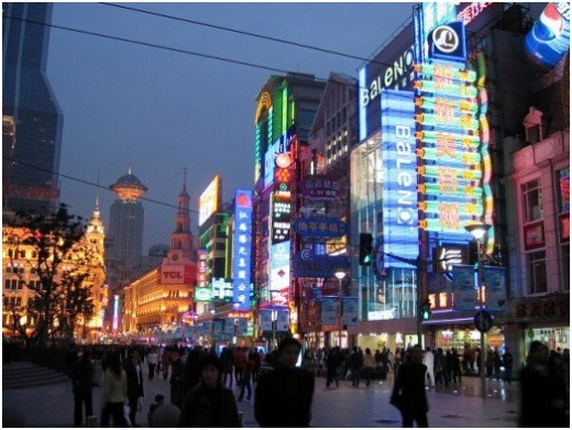 Bustling Nanjing Street