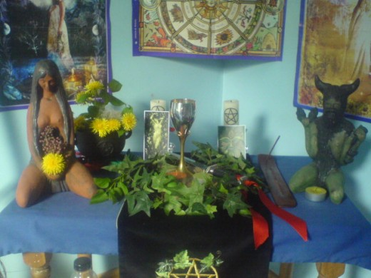A Wiccan Altar for Beltane in Wales that shows a mixture of store-bought and foraged, natural items.