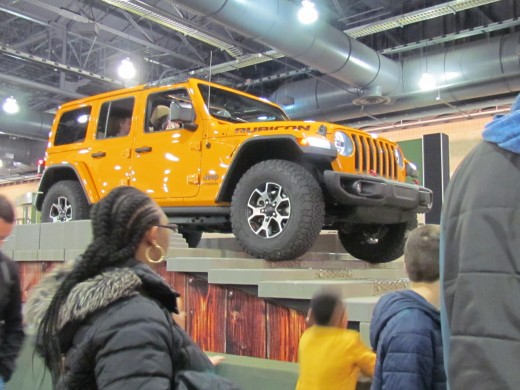The 2018 Jeep, drew an enormous crowd as it climbed stairs and leaned sideways. Visitors were amazed at the Jeep's abilities.