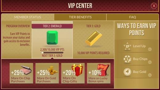 The VIP Rewards screen.