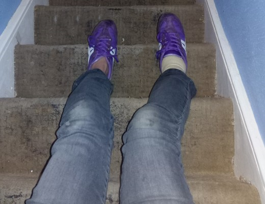 Going downstairs on my bottom after spraining my right ankle