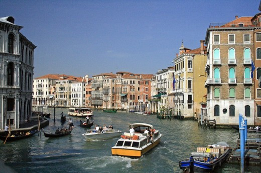 View from the Rialto Bridge of the Grand Canal.