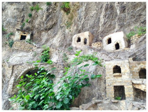 """In one area of town there was this area called """"Grotto Di Fornillo"""" a miniature village carved into the cliffs along the road leading to the main part of Positano. We're told during the holidays its decorated as a nativity scene."""