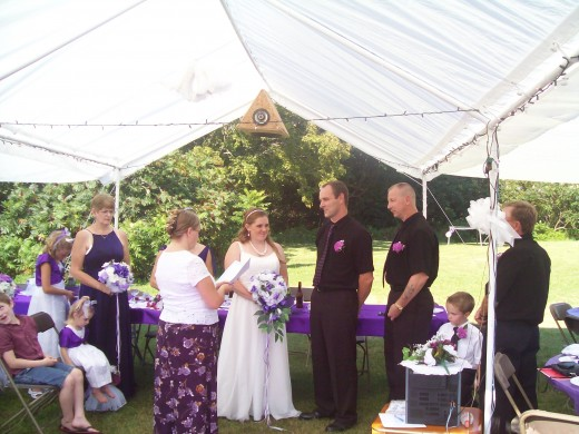 A picture of my wedding day...taking our vows.