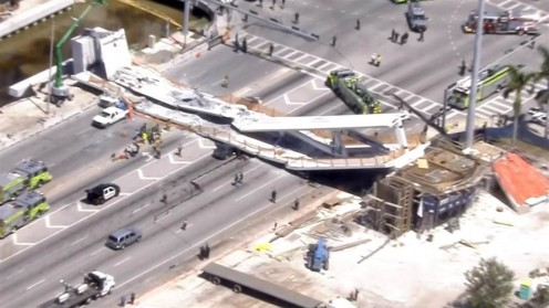 The Bridge, a first, because of accelerated building, falls in FIU in Miami, FL. I fear that 20+ people are dead.