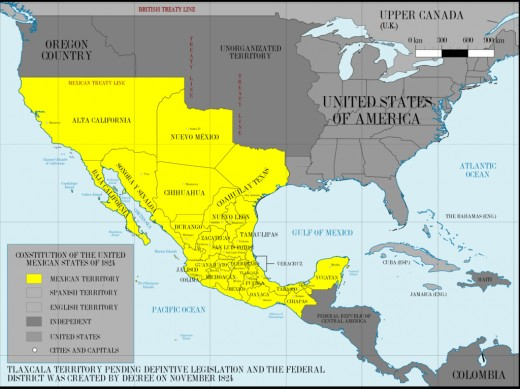 Territory of Mexico in 1824.