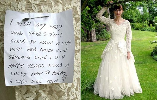 Someone left this lovely note after donating their wife's wedding dress to a charity shop.