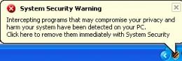 System Security Virus: fake tray warning