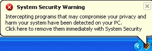 System Security Virus: fake tray warning