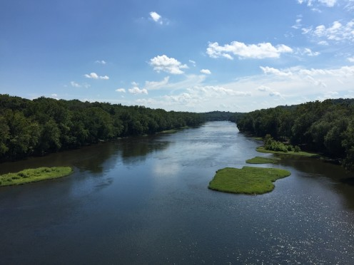 View southeast down the Potomac River from Interstate 81 on the border of Williamsport Station, Washington County, Maryland