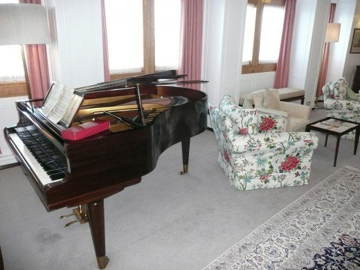 The Grand piano, bolted to the floor in case of storms, was played by both Princess Margaret and Noel Coward