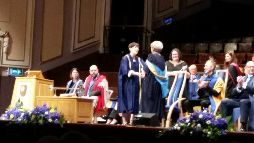 Receiving my B.A.(Hons) at the Usher Hall, Edinburgh, aged 67. The internationally renowned Scottish actor Alan Cumming O.B.E. is sitting to the right, just after having an Honorary Degree conferred by the Open University.