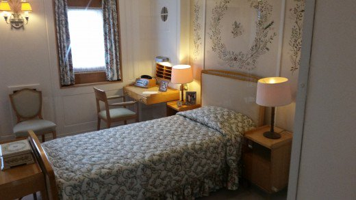 The bedroom of Her Majesty Queen Elizabeth II on the Royal Yacht Britannia