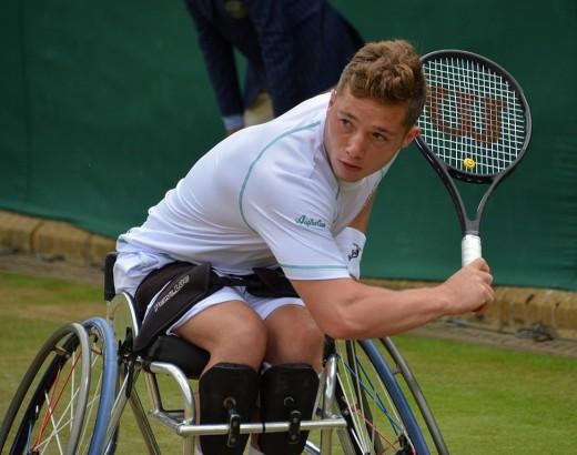 Alfie Hewett playing against Gustavo Fernandez in the wheelchair singles. Day 11 of Wimbledon 2017.