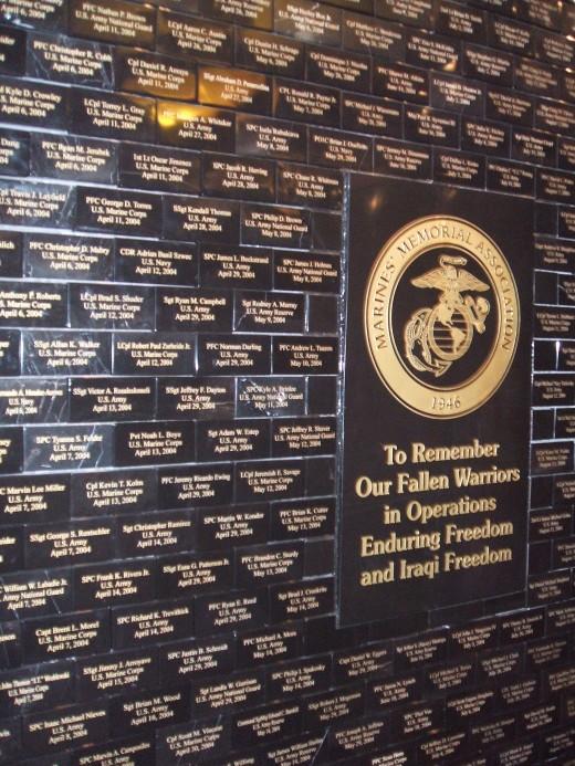 Tribute Memorial Wall at the Marine's Memorial Club in San Francisco