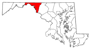 Washington County, Maryland Public domain map courtesy of The General Libraries, The University of Texas at Austin, modified to show counties.