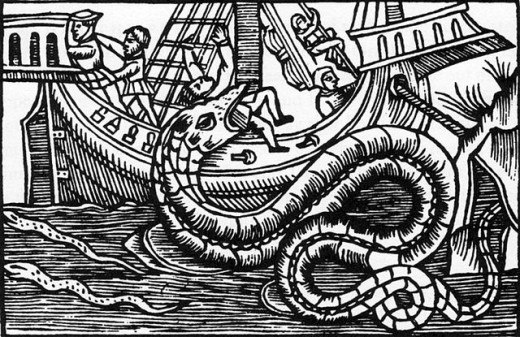 Sea serpents have long frightened sailors.