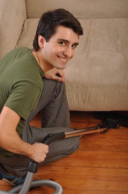 Men enjoy vacuuming.