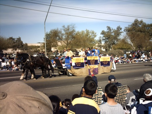 Indian float from neighboring Tohono O'Odahm Nation which borders Tucson on the west.