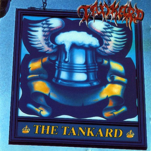The album cover for The Tankard shows a beer mug that is attached to a few birds wings.