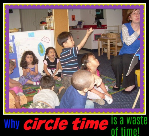 The looks on these children's faces say it all. Small group activities and hands-on learning are far more effective than teacher-directed Circle Time.