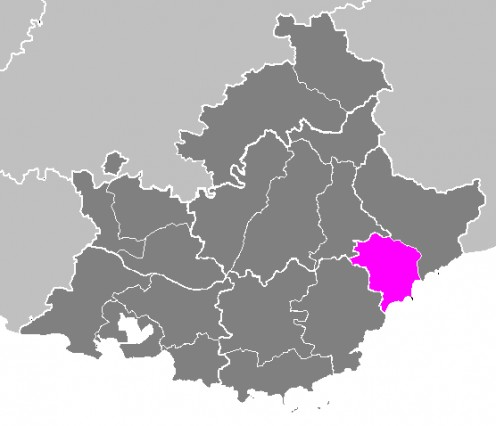 Map location of Grasse arrondissement, France