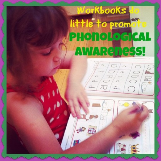 Children need to hear the letter sounds to develop phonological awareness so workbooks and worksheets are largely useless. Zoo-phonics promotes phonological awareness because the kids hear the letter sounds each and every day!