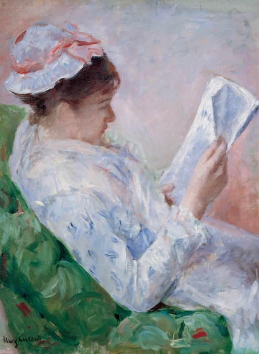 """""""Lydia Reading the Morning Paper (No. 1) (Woman Reading) (Femme lisant) (Portrait of Lydia Cassatt, the Artist's Sister) , 1878–79 oil on canvas, 32 x 23 1/2 inches Joslyn Art Museum purchase, Joslyn Endowment Fund, 1942.38"""" {{PD-US}}"""