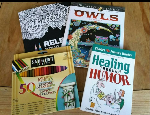 Coloring books and pencils for our time spent in the hospital