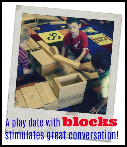 Building with blocks gets kids talking, sharing, and communicating ideas.