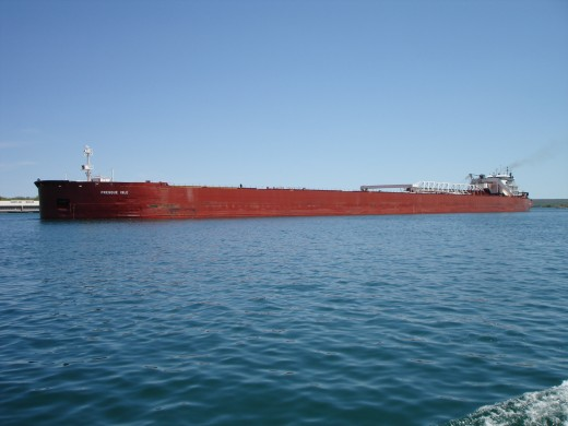 A Great Lakes Freighter on Lake Huron