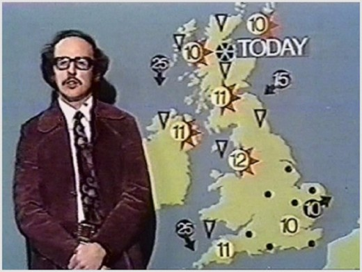 Screenshot of weatherman Michael Fish from 1974 BBC weather forecast.