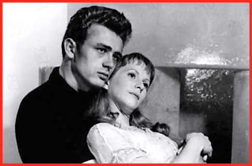"Actress Julie Harris and co-star James Dean in 1955's ""East of Eden."""