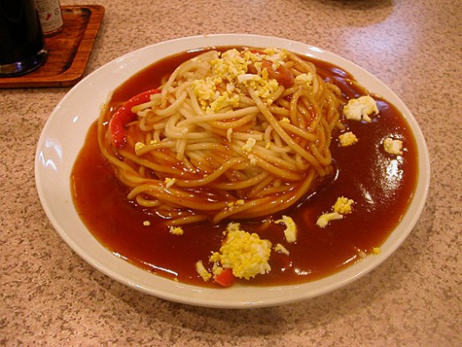 A bowl of Ankake Spaghetti