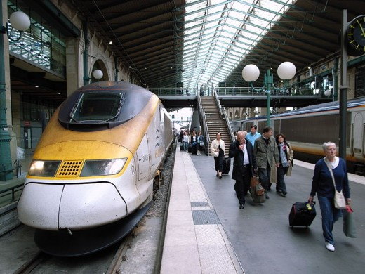 Eurostar train at the Gare du Nord