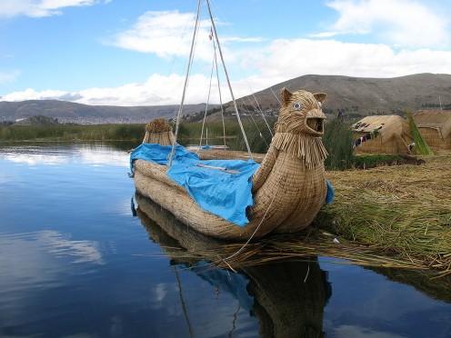 Reed boat at Lake Titicaca