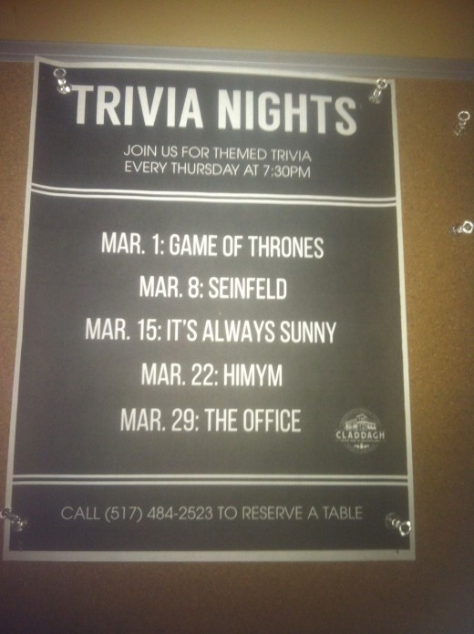 How I wish we could've been there for this!  Make sure to check in advance, online or by phone, to get your reservation as trivia nights have a packed house.