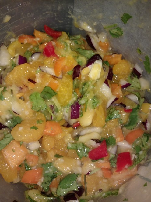 This is some mango pico de gallo that I made with added tangerine and bigger chunks of onion.