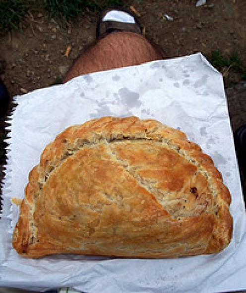 Perfect Packed lunch! Cornish Pasty ready to enjoy