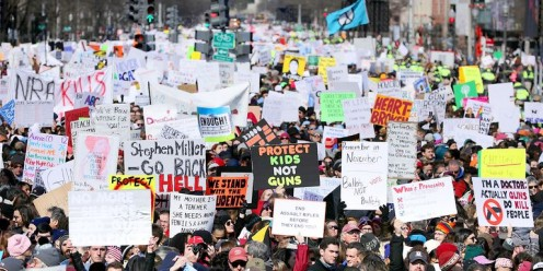 Protesters march for stricter gun laws on March 24th, 2018.