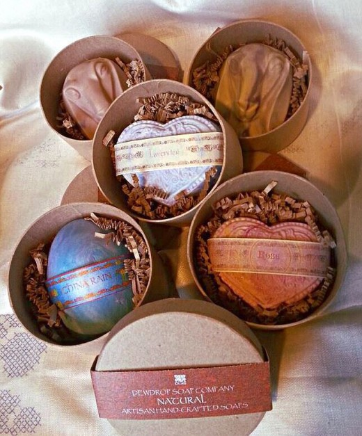 Labeled soaps packaged in labeled gift boxes