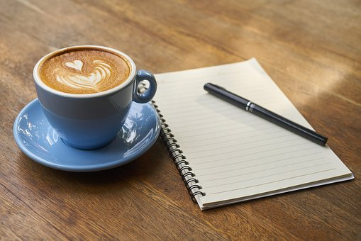 Jot notes with a cuppa coffee