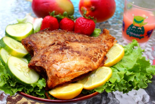 The delicious delights of fish and vegetables are the results of our gardening efforts. .