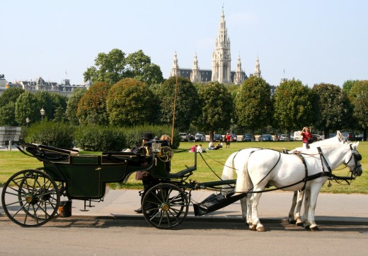 Horse-Drawn Carriage at the Volksgarten with a View of the Rathaus and Parliament in the Background.