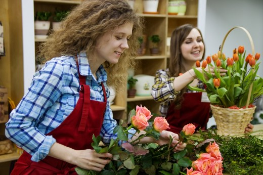 Some retail jobs involve learning new skills like floristry.