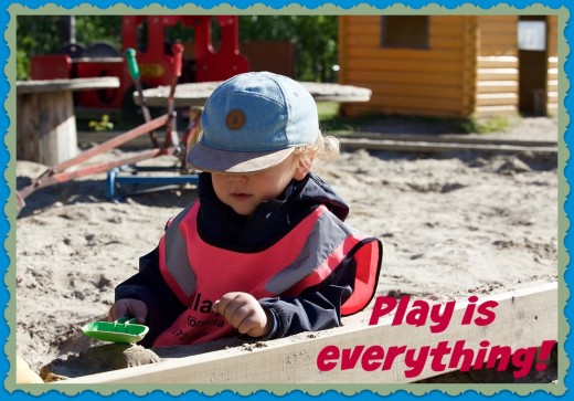 Playing in the sandbox is an example of developmentally appropriate practices. It promotes conversation, enhances hand-eye coordination, and improves small motor skills.