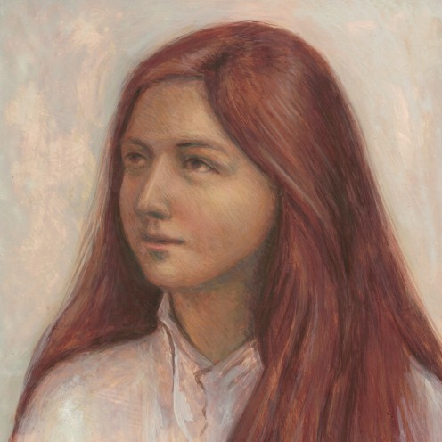 A memorable feature of Caryll Houselander's appearance was her red hair. She cut it short during the War because of the danger of fleas. This image depicts her at about age seventeen.